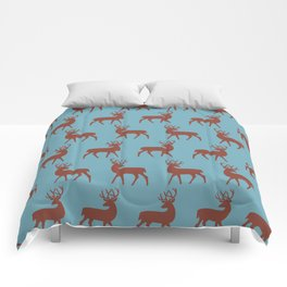 Mid Century Modern Deer Pattern Dusty Brown and Turquoise 3 Comforters