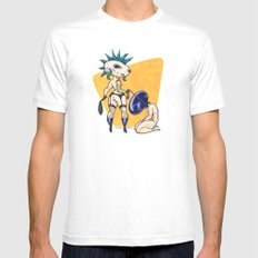 Time for Walkies! MEDIUM White Mens Fitted Tee