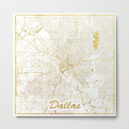 Dallas Map Gold Metal Print