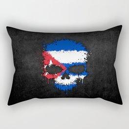 Flag of Cuba on a Chaotic Splatter Skull Rectangular Pillow