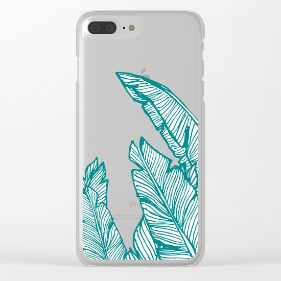 Banana Leaves on Teal #society6 #decor #buyart Clear iPhone Case