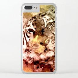 Tiger Watercolor, Painted Tiger Art, Cool Tiger, Splatter Tiger Design, Tiger Decor, Vintage Tiger Clear iPhone Case