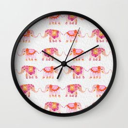 HAPPY ELEPHANTS - WATERCOLOR Wall Clock