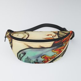 """Alphonse Mucha """"Portrait of a Young Woman"""" Fanny Pack"""