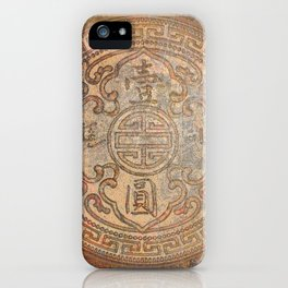 Antic Chinese Coin on Distressed Metallic Background iPhone Case