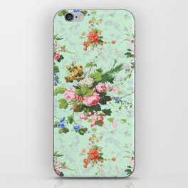 Antique romantic vintage 1800s Victorian floral shabby rose flowers pattern aqua mint hipster print iPhone Skin