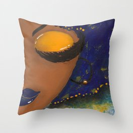 Blue and Gold Sassy Girl  Throw Pillow