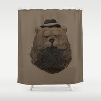 beard Shower Curtains featuring Grizzly Beard by Alex Solis