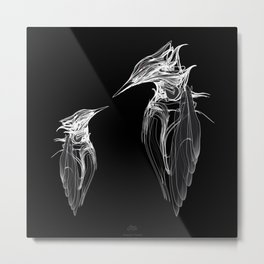 Kingfisher Father & son 1a. White on black background-(Red eyes series) Metal Print