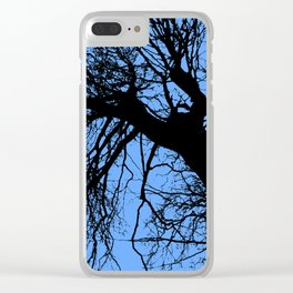 Trees blue bg Clear iPhone Case