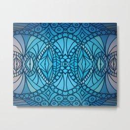 Blue Art Deco Metal Print