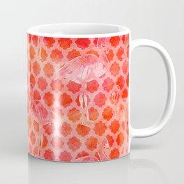 Watercolor Pink Flamingo Tropical Geometric Pattern Coffee Mug