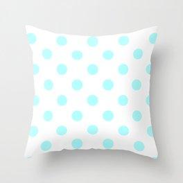 Polka Dots - Celeste Cyan on White Throw Pillow
