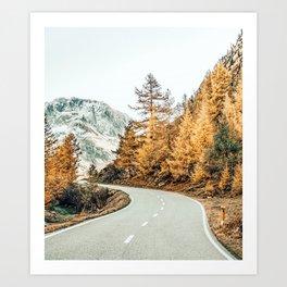 Snow + Golden Pine Art Print