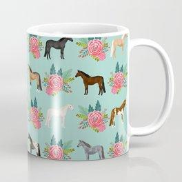 Horse Florals - mint and pink, horse, horse bedding, horse florals, horse blanket, horse decor, cute Coffee Mug