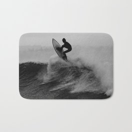 Surf black white Bath Mat
