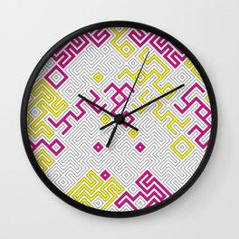 Yellow and Pink Geometric Labyrinth Background Wall Clock
