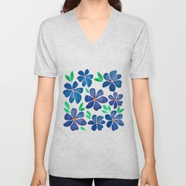 Watercolor Blue Flowers Poppies Unisex V-Neck
