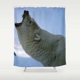 Awesomely Fearsome Grown Male Polar Ice Bear Big Roar Close Up Ultra High Resolution Shower Curtain