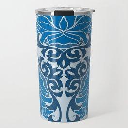 Blue Chinese Floral Medallion Travel Mug