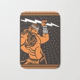 greek roman ray god jupiter zeus orange and black old plate painting Bath Mat