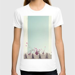 Pink flowers on the white rooftop T-shirt
