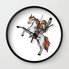 Astronaut Rides a Unicorn | Mythical Spaceman Wall Clock