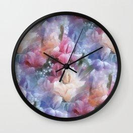 Sweet watercolor irises Wall Clock