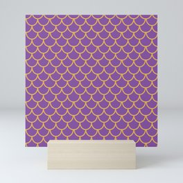 Mermaid Scales Pattern in Purple. Gold Scallops_Purple Mini Art Print