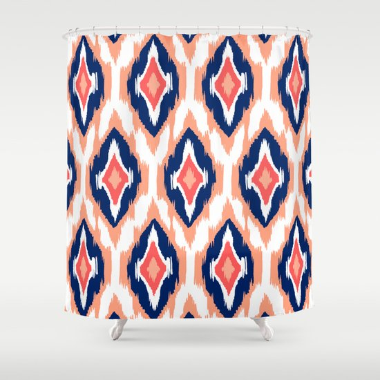Coral And White Shower Curtain coral grey light blue shower