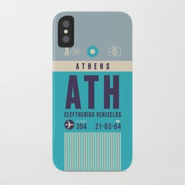 Retro Airline Luggage Tag - ATH Athens Greece iPhone Case