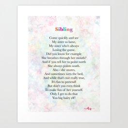 Sibling - Poem Art Print