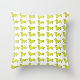 Doxie Love - Lime Throw Pillow