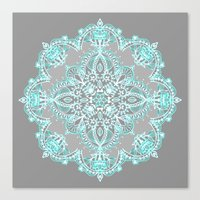 bedding Canvas Prints featuring Teal and Aqua Lace Mandala on Grey by micklyn