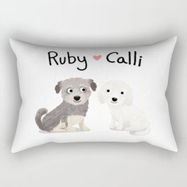 "Custom Dog Art ""Ruby and Calli"" Rectangular Pillow"