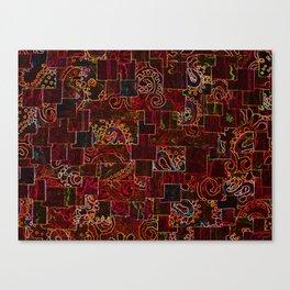 Batik Mosaic Fractal Red Canvas Print
