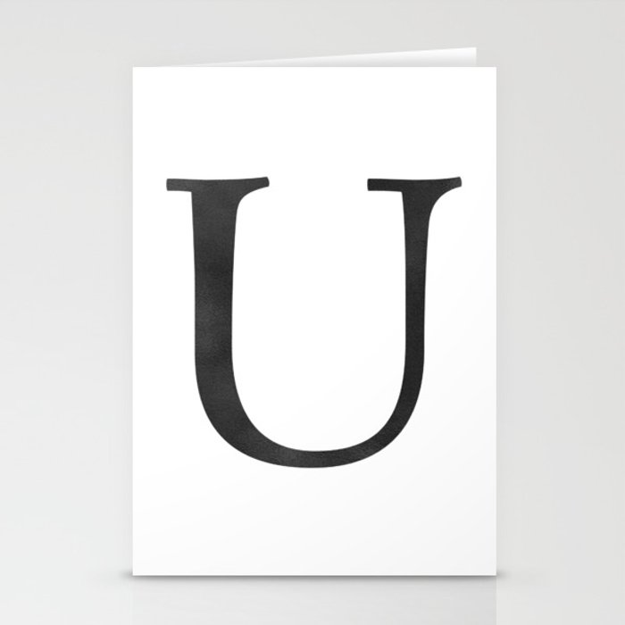 Letter U Initial Monogram Black and White Stationery Cards
