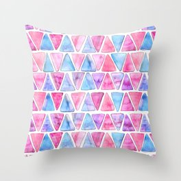 Bubble Gum Watercolor Triangles Throw Pillow