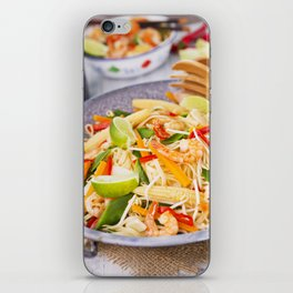 II - Healthy shrimp and vegetables stir-fry in a bowl, brightly lit iPhone Skin