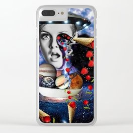 Strawberries and Cherries Travelers. *Futuristic / Sci-Fi Surreal Digital Collage.* Clear iPhone Case