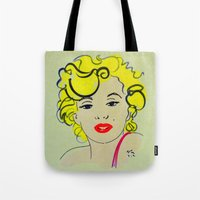 marylin monroe Tote Bags featuring Out with Marylin by Irène Sneddon