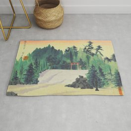 Tokuriki Tomikichiro Scenes of Sacred Places and Historic Landmarks Kirishima Jingu Shrine Japanese Rug