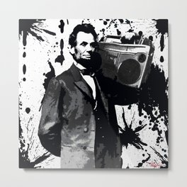 ABRAHAM LINCOLN INK SPLASH MAKE MUSIC NOT WAR Metal Print