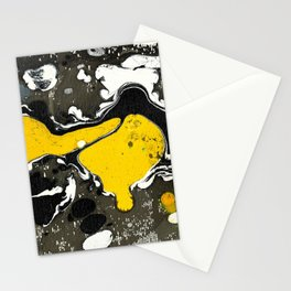 Marble Ink Yellow Black White Stationery Cards