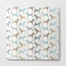 Beagle Silhouettes Pattern - Natural Colors Metal Print