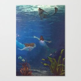 Carefree Mermaids Swimming Under the Sea Canvas Print