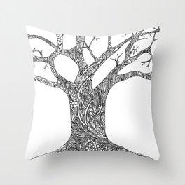 Tree Doodle Throw Pillow