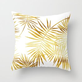 Tropical Palm Fronds in Gold Throw Pillow
