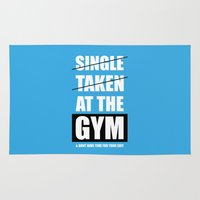 gym Area & Throw Rugs featuring Lab No. 4 - At The Gym Gym Motivational Quotes Poster by Lab No. 4