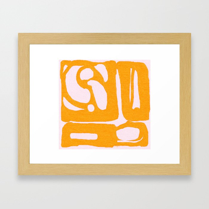 Abstract in Yellow and Cream Framed Art Print